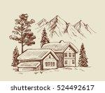 wood cabin in winter landscape... | Shutterstock .eps vector #524492617