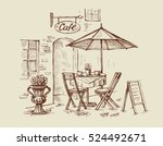 street cafe in old town vector... | Shutterstock .eps vector #524492671