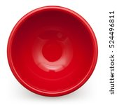 Small photo of top view red bowl isolated on white