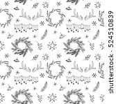 black and white christmas and... | Shutterstock . vector #524510839