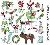 vector set of christmas... | Shutterstock .eps vector #524511601