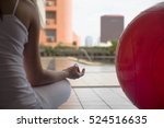 yoga woman meditating and... | Shutterstock . vector #524516635