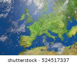 shaded relief map of europe  3d ... | Shutterstock . vector #524517337
