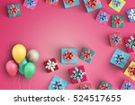 happy birthday and gift box on... | Shutterstock . vector #524517655