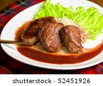 Roast maral meat with blood and garnish pearl barley - very tasty dish - stock photo
