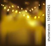 festive gold light on black... | Shutterstock .eps vector #524523421