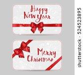 set of christmas ornamental... | Shutterstock .eps vector #524523895