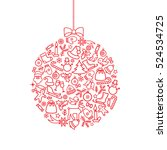 christmas background. doodle... | Shutterstock .eps vector #524534725