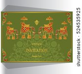 indian wedding invitation ... | Shutterstock .eps vector #524535925