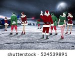 red santa claus on airport and... | Shutterstock . vector #524539891