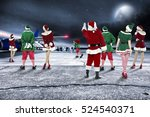 red santa claus on airport and... | Shutterstock . vector #524540371