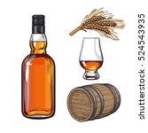 set of hand drawn whiskey... | Shutterstock .eps vector #524543935