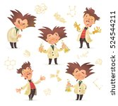 stereotypic bushy haired mad... | Shutterstock .eps vector #524544211