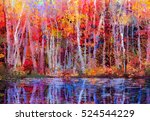 oil painting colorful autumn... | Shutterstock . vector #524544229