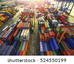 aerial view of cargo ship ... | Shutterstock . vector #524550199