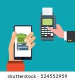 hand holds smartphone dataphone ... | Shutterstock .eps vector #524552959