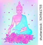 Sitting Buddha With Pink Roses...