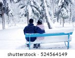 Couple In Winter Park On A Bench