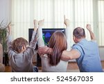 family of three watching sports ... | Shutterstock . vector #524567035