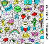 vector hand drawn seamless... | Shutterstock .eps vector #524567755