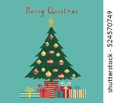 vector merry christmas greeting ... | Shutterstock .eps vector #524570749