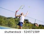 beautiful female tennis player... | Shutterstock . vector #524571589