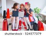 three little cute girlfriends... | Shutterstock . vector #524577379