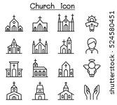 church icon set in thin line... | Shutterstock .eps vector #524580451