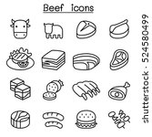meat   beef icon set | Shutterstock .eps vector #524580499