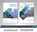 blue annual report brochure...   Shutterstock .eps vector #524582989