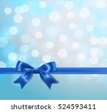 blue silky bow and ribbon... | Shutterstock .eps vector #524593411