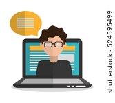 laptop and boy blogger design | Shutterstock .eps vector #524595499