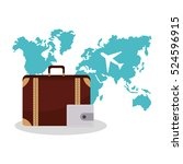 isolated bag and airplane of... | Shutterstock .eps vector #524596915