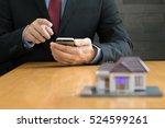 businessman using mobile... | Shutterstock . vector #524599261
