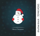blue christmas card with snowman | Shutterstock .eps vector #524614261
