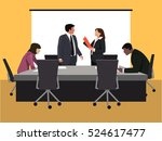 business negotiation in office | Shutterstock .eps vector #524617477