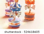 colorful carousels wooden toys... | Shutterstock . vector #524618605