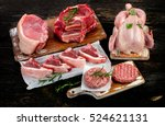 different types of raw meat... | Shutterstock . vector #524621131