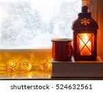 winter decoration with lantern  ... | Shutterstock . vector #524632561