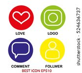 set of icons love  dialogue ... | Shutterstock .eps vector #524636737