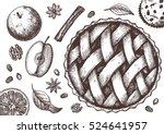 ink apple pie set with apples ... | Shutterstock .eps vector #524641957