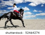 teenage girl horseback riding | Shutterstock . vector #52464274