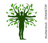 Green Human Tree Silhouette Icon Symbol Design. Vector illustration isolated on white background.