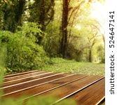 wooden desk and spring garden... | Shutterstock . vector #524647141