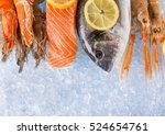 fresh seafood on crushed ice ...   Shutterstock . vector #524654761