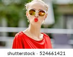 beautiful girl in sunglasses... | Shutterstock . vector #524661421