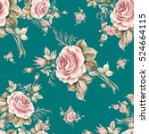 Stock photo watercolor seamless pattern roses in bud beautiful pattern for decoration and design trendy 524664115