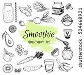 smoothie ingredients vector... | Shutterstock .eps vector #524668921