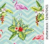 hand drawn tropical summer... | Shutterstock .eps vector #524670421