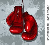 retro boxing gloves in red | Shutterstock .eps vector #524679364
